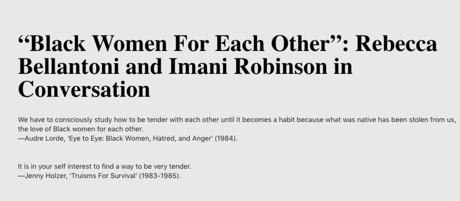 Rebecca Bellantoni and Imani Robinson in Conversation